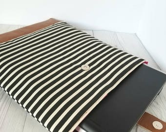 Black White Striped Laptop Sleeve, Laptop Case, Tablet Sleeve, Tablet Case, Macbook Sleeve, Macbook Case, 12 inch, 13 inch, 14 inch, 15 inch