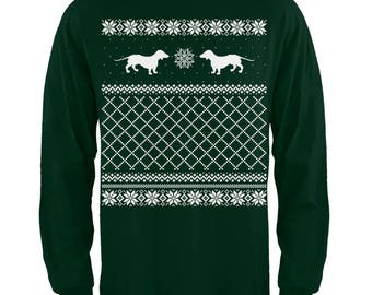 Dachshund Ugly Christmas Sweater Adult Long Sleeve T-Shirt