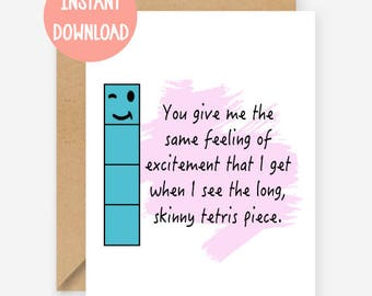 Printable card, You give me the same feeling of excitement, funny greeting card, blank inside