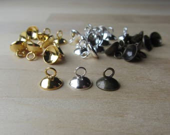 8 mm Glue on Bail Bead Caps, Silver Gold Bronze Bead Caps for Resin Jewelry, Bead Caps with Loop, Looped Bead Findings, Sphere Tube Caps