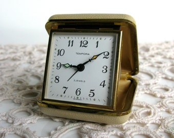 Mid Century / German Tempora / Working / Travel Alarm / Mechanical / Alarm Clock / Made in Germany / 2 Jewels / Leather Boxed / Convex Glass