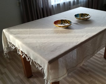 """Softened Linen Tablecloth / Sheer Linen Tablecloth/ Stonewashed Linen / Natural Color / With Tassels / Rustic / Oblong / 68"""" x 61"""" / Vintage"""