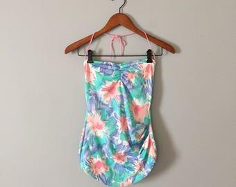 1980s pastel bandeau swimsuit || pastel maillot