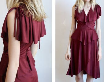 Vintage 1970s Cranberry Capelet Ruffle Wrap Dress XS /S