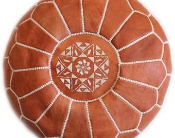 SALE **Tan Moroccan Leather Pouf**