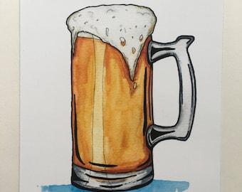 Beer Mug Print - Man Art - Guy Gift - Beer Lover - Draft Beer - Watercolor Print - Brewery Art - 5x7 - Gift Idea