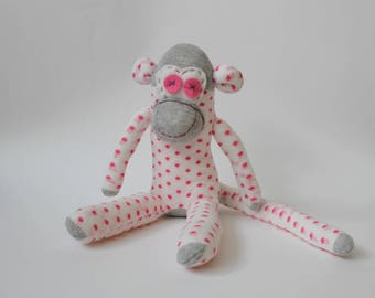 Dotty the Sock Monkey | Handmade, Baby Shower, Birthday Gift, Personalised Monkey, Polka Dot Socks, Travel Gift, Monkey Gift, Lost Socks