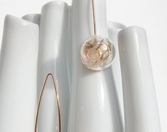 """Spear"" rose gold earrings / / dandelion seeds"