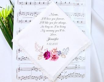 Wedding Handkerchief, Mother of the Groom Handkerchief, Mother of the Bride Handkerchief, Wedding Hankerchief, Mother of the Groom Gift #4