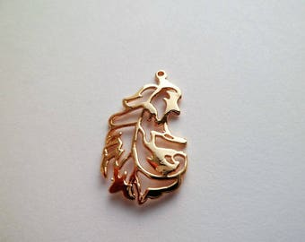 Pendant gold plated bird feather