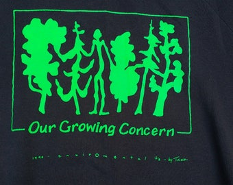 "1990 Environmental Nature Crew-neck sweatshirt ""Our Growing Concern"" Environmental t's by Tricia Made in Canada XL"