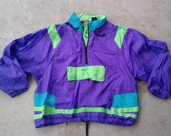 "Vintage 90's Neon Purple Green Turquoise Pullover Windbreaker Jacket ""Sun Sations"" XL"