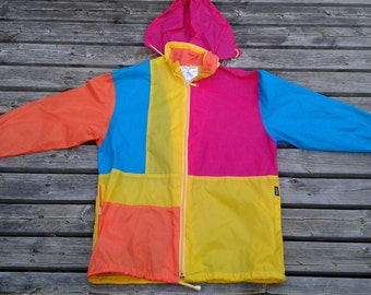 Amazing Vintage 80's Colourful Color Block Rainbow ISPO Windbreaker Zip Up with Hoodie Jacket Medium
