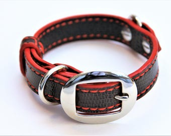 Dog Collar Genuine Lizard Cognac/Red