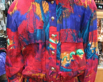 80's Vintage Silk Escada's Tourist Paradise Bomber Jacket