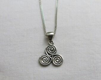 Silver Celtic triple spiral knot Triskelion pendant