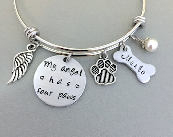 Personalized My Angel Bracelet, Pet Memorial Gift, Paw Charm, Dog Mom, Dog Lover Gift, Angel Wing Bracelet, Bone Charm, Dog Memorial