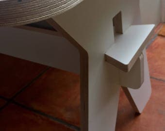 Children's Table / CNC cut laminated plywood / Furniture / White / Blue / Grey / Red