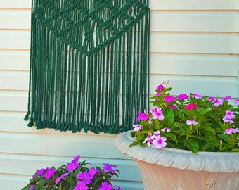 "Outdoor Macrame Wall Hanging Weather Proof Washable Garden Patio Decor Green ""Natura"""