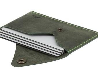 Super slim leather card holder card wallet a slim black green leather business card holder minimalist wallet slim wallet for men raw green reheart Images