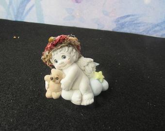 Vintage 1996 Dreamsicles by Kristin  DC 324 Cuddle-Up Cherub Angel Holding Teddy Bear On a Cloud  2684