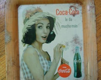 Vintage 1964 Coca Cola tray - Metal Coke tray - Coca Cola girl - Spanish Coca Cola tray - Mexico Coca Cola tray - Vintage pinup - Tip tray