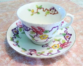 Royal Albert Crown Tea Cup and Saucer Unnamed Pattern No. 8136 Dated 1927-1935 Pink Yellow Purple Floral