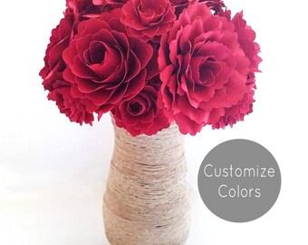 Custom Flower Arrangement  | Paper flower arrangement in vase | Red|Yellow|White|Blue|Purple|Pink|Aqua|Teal|Ivory |Gfits | Decor