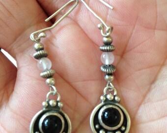 Silver Onyx Beaded Earrings