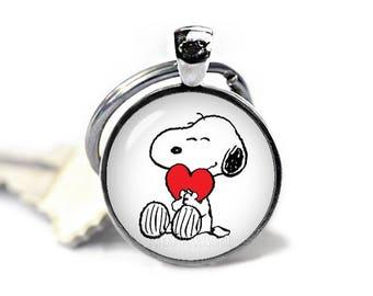 Snoopy Keychain Snoopy Heart Key Ring Snoopy KeyFob Peanuts Fandom Jewelry Cosplay Fangirl Fanboy