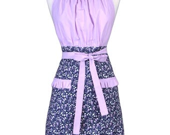 Womens Retro Chef Apron Dreamscape Navy Amethyst Retro Kitsch Style Kitchen Cooking with Pockets (CS)