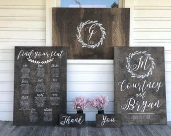 Build Your Own Custom Wedding Sign Package - Wedding Welcome Sign - Guest Book Alternative - Wedding Seating Chart - Custom Wedding Signs