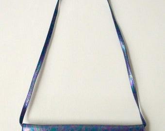 Vintage 80s metallic petrol shoulder bag clutch bag