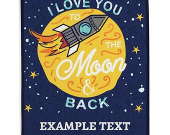 Kid's Quilt, Kid's Room, Boy Quilt, Girl Quilt, Baby Quilt, Nursery Decor, Astronaut Quilt, Rocket Ship, Moon - To The Moon and Back Quilt
