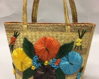 Vintage Floral Rattan and Raffia Tote Bag with Colorful Flowers 1950's 1960's | Beach Bag  | Bohemian | Floral Tote | Friend Gift