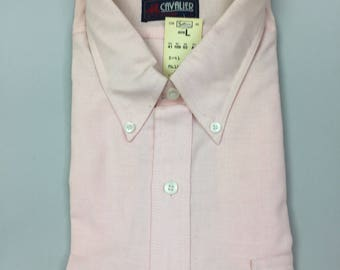 80's Men's Light Pink Button Collar Calvin Charles Button Down Oxford Shirt with Short Sleeves | Size 16 | Deadstock | New | Never Worn