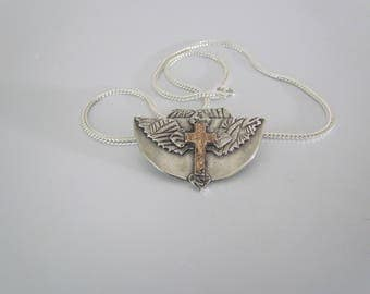 "Item 6123 - ""Spreading Faith"" - Fine & Sterling Silver Hand sculpted carved Cross Angel Wings 18K Rose Gold Leather and Silver Chain"