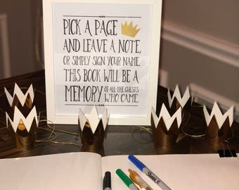 "Write A Wish For Our Wild Things 8""x10"" Printable Guest Book Sign 