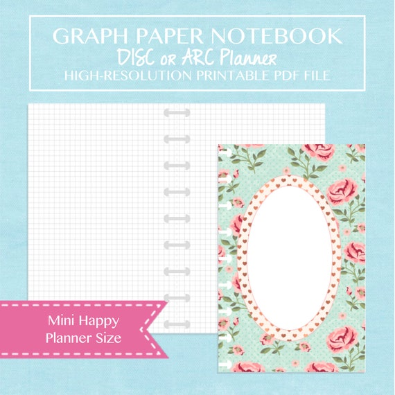 mini happy planner size graph paper notebook printable planner