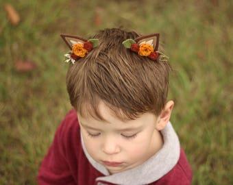 Deer Ear Hair Clips, Fall Deer Clips, Felt Deer Ears