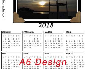 Landscape Calendar Magnet, 2018 Calendar Magnet, A6 Size Calendar, Landscape 2018 Calendar, A5 Photo Calendar, Calendar 2018 Magnet