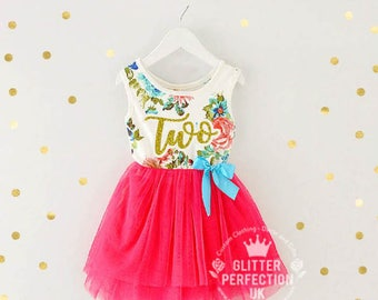 Second Birthday Dress,Toddler Tutu Dress, 2nd Birthday Dress, Cake Smash Outfit, Hot Pink tutu dress with gold letters
