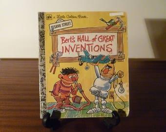 "Vintage 1978 Children's Book ""Bert's Hall of Great Inventions"" - A little Golden Book / Kids Book / Retro Kids Book / Sesame Street"