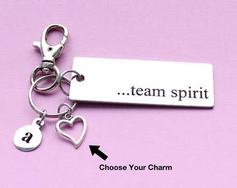 Personalized Cheerleader Key Chain Team Spirit Stainless Steel Customized with Your Charm & Initial - K556