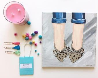 Animal Print Shoe Painting . Cute Shoe Painting . Shoe Art . Girl Decor . Dorm Room Decor . Shoe Decor . Animal Print shoes and jeans art