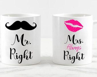 Mr Right Mrs always right mug set, engagement mugs, engagement gift, wedding mugs, wedding gifts, his and hers mugs, bridal shower mugs gift
