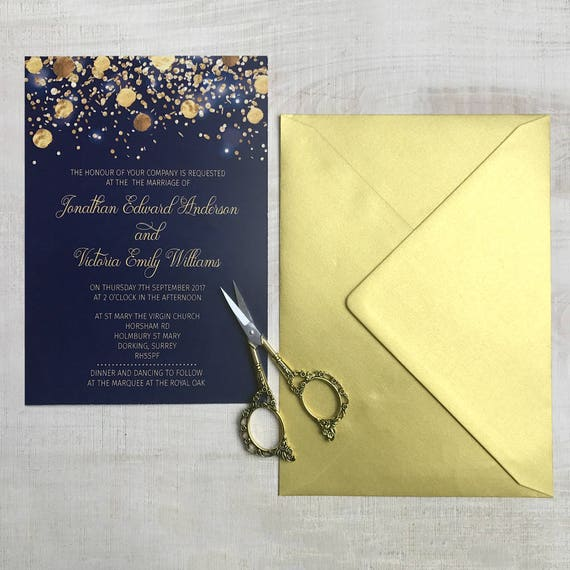 Winter wedding invitations, Navy gold wedding invitations, Christmas wedding invitations, Glitter wedding invites, Navy blue invitations, A5