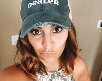 Distressed Trucker Hat:   Dealer  | Essential Oils Hats  | doTERRA | Young Living | Team | Convention