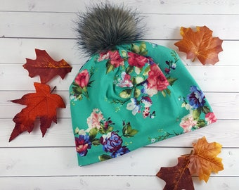 Fur Pom Pom Hat, Slouchy Beanie, Toddler Slouchy Beanie, Slouchy Beanie Baby, Faux Fur Pom Pom, Kids Beanie, Womens Beanie, Winter Hat