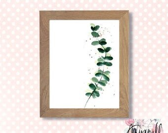 Watercolor artwork Eucalyptus printable vegetal art, vegetal illustration poster, save the date, eucalyptus poster, invitations, home decor